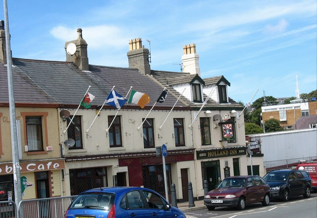 Five pubs in Holyhead, Wales. I think they took down the Union Jack